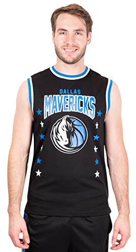Ultra Game NBA Dallas Mavericks Mens Jersey Sleeveless Muscle T-Shirt, Black, Large