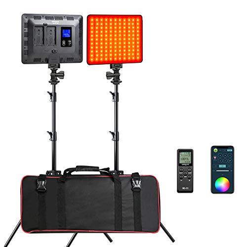 Weeylite 2-Pack RGB LED Luz de Video,0-360 Colorida 2500K-8500K Regulable 30W Cámara Estudio Iluminación con Ajustable Trípodes/APP Controlar/Remoto/Bolso para Fotografía Retrato Youtube