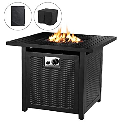 "OKVAC 28"" Propane Gas Fire Pit Table, 50,000 BTU Square Fire Bowl, Outdoor Auto-Ignition Fireplace with CSA Certification, Waterproof Cover, Lava Rock, for Balcony/Garden/Patio/Courtyard"