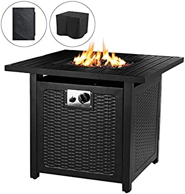 """OKVAC 28"""" Propane Gas Fire Pit Table, 50,000 BTU Square Fire Bowl, Outdoor Auto-Ignition Fireplace with CSA Certification, Wa"""