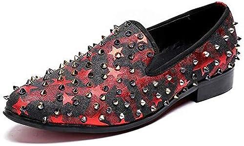 LOVDRAM Chaussures en Cuir pour Hommes Style Britannique Hommes Chaussures Habillées Rivets Cloutés Mocassins De Bal Parti Casual Hommes Pantoufles Taille 38-47