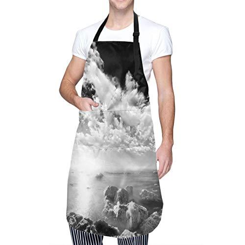 Throwpillow Wasserdicht Chef Kochschürze mit TaschenNew York Wolkenkratzer Skyline Schwarz-Weiß-Dachansicht Manhattan Midtown Print Küchenschürze zum Kochen,Grillen,Basteln,Restaurant,café-50X70cm
