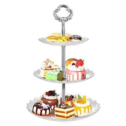 WolinTek Tortenständer Etagere 3 Etagen Teller Weiß Tortenständer Kuchenständer, Cupcake Ständer Gebäck Muffin Obst Halter für Party, Hochzeit, Geburtstag, Weihnachten (B)