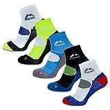 More Mile London - calcetines de running para hombres (paquete de 5), multicolor