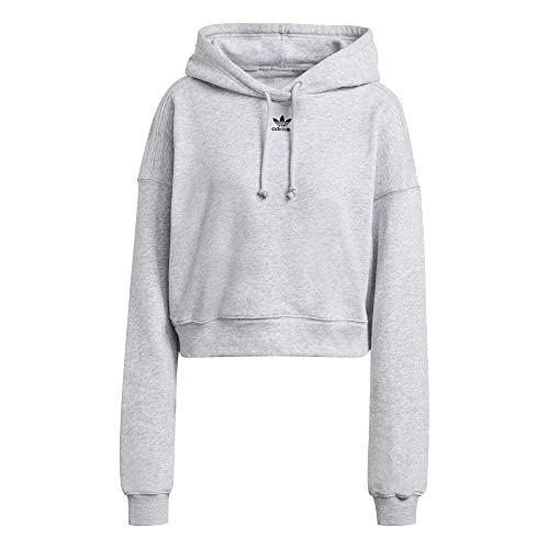 adidas Adicolor Cropped - Sudadera con capucha para mujer gris claro 36