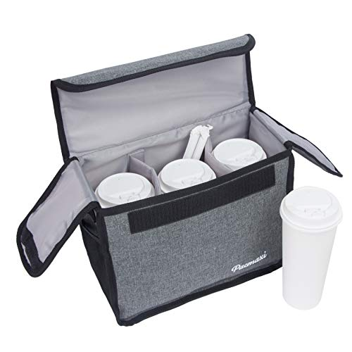 PACMAXI Drink Carrier for Delivery and Food Delivery Bag, Drink Holder for Take Out Office, Picnic, Beach and Outdoor Activities, Waterproof Cup Carrier Tote with Removable Divider (3 Cups, Dark Grey)