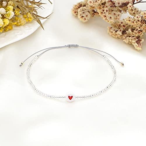 SONGK Pulseras de corazón para Pareja Pulsera 2021 Regalo del día de San Valentín Joyería con Cuentas Brazalete pequeño Ajustable