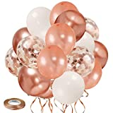 Zesliwy Rose Gold Confetti Balloons, 50 Pack 12 inch White and Rose Gold Latex Balloons with 33 Feet Rose Gold Ribbon for Birthday Party Wedding Graduation Bridal Shower Decorations.