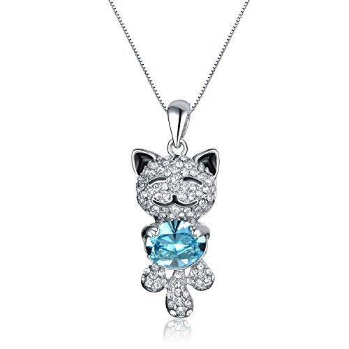 VIKI LYNN Collier Fantaisie Cristal Femme Fille Serie 'LUCKY CAT' Chat avec Petit chat souriant...