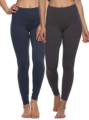 Felina Velvety Super Soft Lightweight Leggings 2-Pack - for Women - Yoga Pants, Workout Clothes (Navy Charcoal, X-Large)