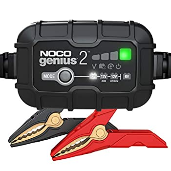 NOCO GENIUS2 2-Amp Fully-Automatic Smart Charger 6V and 12V Battery Charger Battery Maintainer Trickle Charger and Battery Desulfator with Temperature Compensation