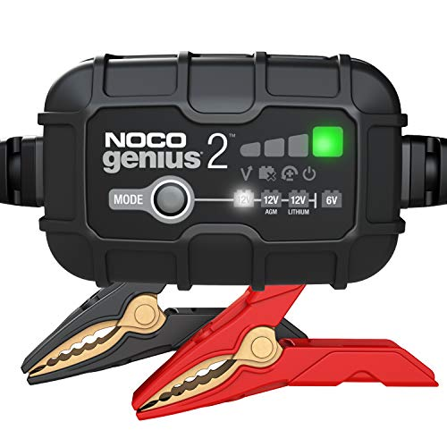 NOCO GENIUS2, 2-Amp Fully-Automatic Smart Charger, 6V And 12V Battery Charger, Battery Maintainer, And Battery Desulfator With Temperature Compensation