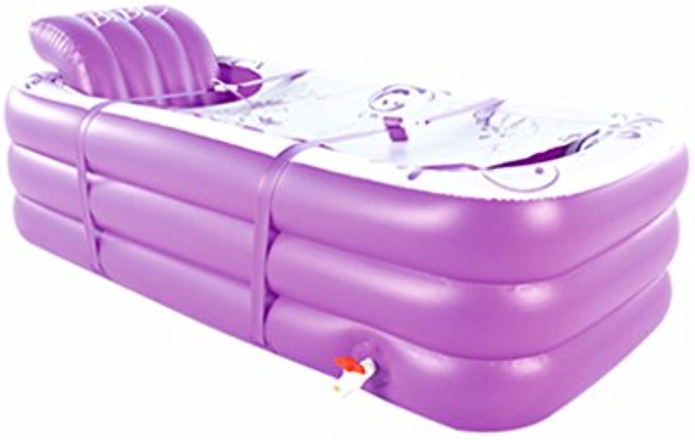 JCCOZ Aufblasbare Badewanne, Erwachsene zusammenklappbare Badewanne Kunststoff verlngern Verdickung Bad Barrel (Farbe   Lila)
