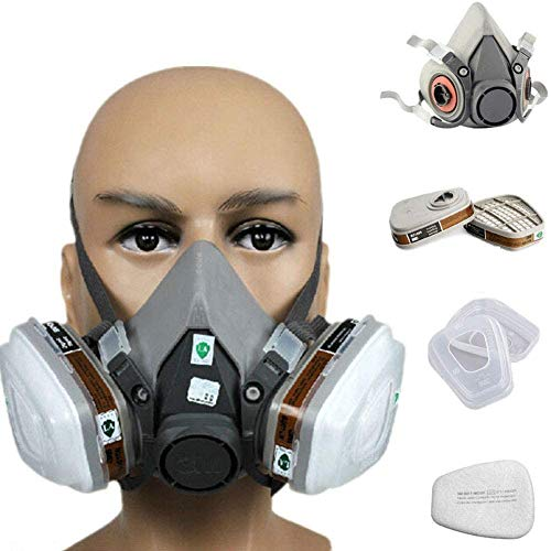 7in 1 Reusable full face Cover,Full Face Respirator Widely Used in Organic Gas,Paint Sprayer, Chemical,Woodworking,Dust Protector