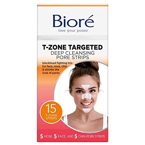 Bioré T-Zone Targeted Deep Cleansing Pore Strips, 15 Count, (5 Nose + 5 face + 5 Chin Pore Strips), Blackhead Pore Strips for the T-Zone Area