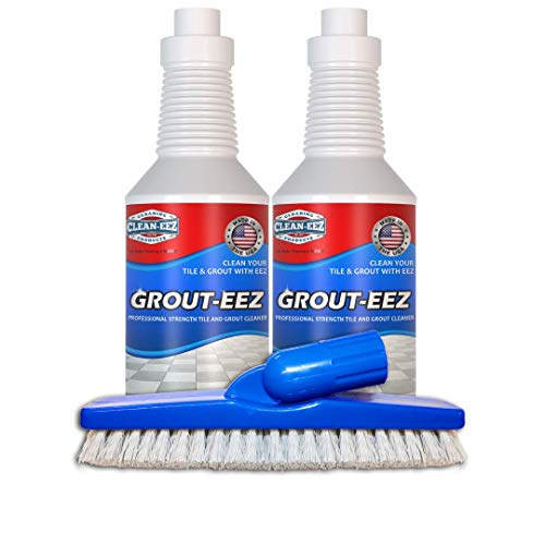 IT JUST WORKS! Grout-Eez Super Heavy Duty Tile & Grout Cleaner and whitener. Quickly Destroys Dirt & Grime. Safe For All Grout. Easy To Use. 2 Pack With FREE Stand-Up Brush. Clean-eez