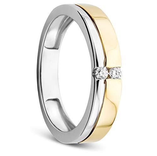 Orovi Damen Ring Bicolor Gelbgold und Weißgold 0.06 Ct Diamant Verlobunsring Ehering Trauring 14 Karat (585) Gold und Diamanten Brillanten