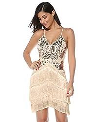 Nude Sequin Tassel Mini Bodycon Party Dress