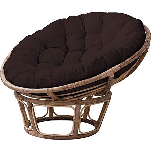 Cojín de hamaca de huevo colgante cómodamente reemplazo, huevo redondo nido en forma de huevo en forma de almohadilla de balcón interior sin soporte, estera de silla lavable marrón oscuro 50x50x15cm (