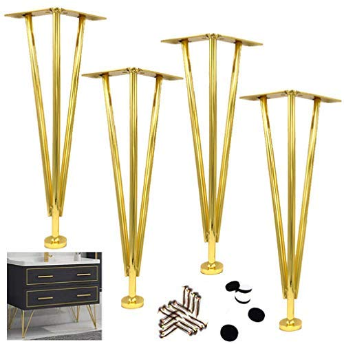 BJYG Set of 4 Hairpin Legs,3 Rod Welding Iron Furniture Legs,Sofa Legs,Coffee Table Legs,Furniture Feet,Non-Slip Wear Resistant, Strong Bearing Capacity Sturdy and Durable,Gold (42cm/16.5')