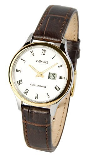 Elegante MARQUIS Damen Funkuhr (Junghans-Uhrwerk) Bicolor Lederarmband, Gehäuse aus Edelstahl 983.4705
