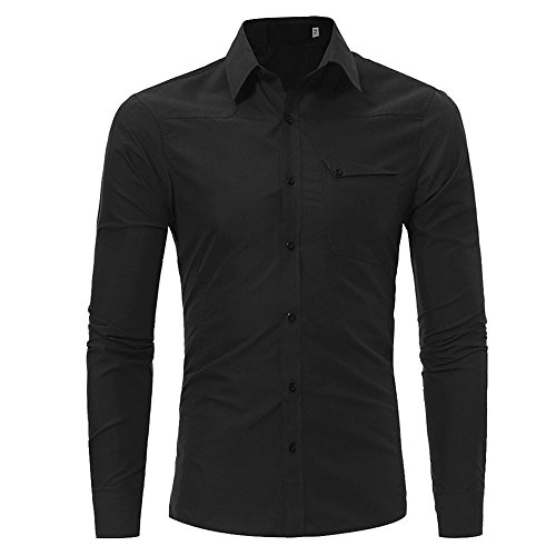 WUAI Men's Button Down Shirts Long Sleeve Fashion Personality Slim Fit Casual Tee Shirt Top(Black,US Size L = Tag XL)