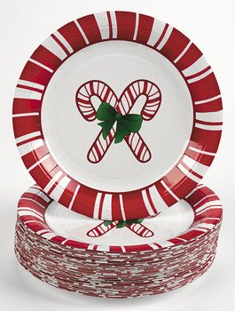 Candy Cane Dessert Plates (50 pc) 7', Holiday Party, Ugly Christmas Sweater, Tableware