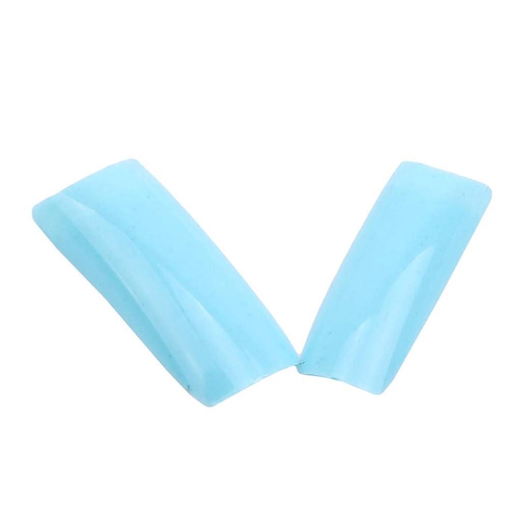 ローン影響する喉頭Underleaf 100個/セットカラフルな偽の偽のネイルのヒントアクリル人工ネイルアートアクセサリー(ブルー)