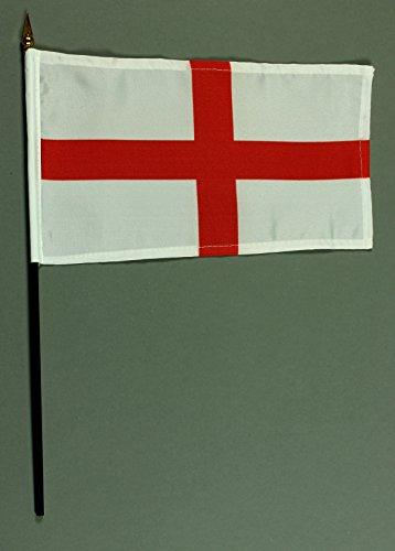 Buddel-Bini Handflagge Tischflagge England rotes Kreuz 15x25 cm mit 37 cm Mast aus PVC-Rohr, ohne Ständerfuß
