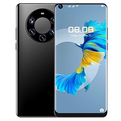 Smartphone, pantalla perforación completa 7.3 pulgadas, tarjetas duales, teléfono inteligente doble modo espera 6 + 64G, soporte desbloqueo facial y desbloqueo huellas dactilares(Enchufe de la UE)