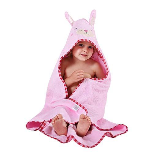 MICHLEY Kapuzenhandtuch Baby, 90x90cm Baumwolle Badetücher mit Kapuze für 0-6 Jahre Kinder Hell-Pink Hase