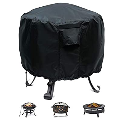 """Sakeye Fire Pit Cover 36 Inch Round, Waterproof Windproof Polyester Patio Fire Bowl Covers Anti-UV Heavy Duty Patio Firepit Bowl Cover, Black (Round, 1.Round - 36"""" D x 20"""" H)"""