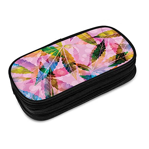 Usertnew Pink Rainbow Weed Leaf Pencil Case Pen Holder Pouch Marker Desk Organizer Bag with 2 Independent Zipper Chambers for School & Office 4 X 2 X 8.3in