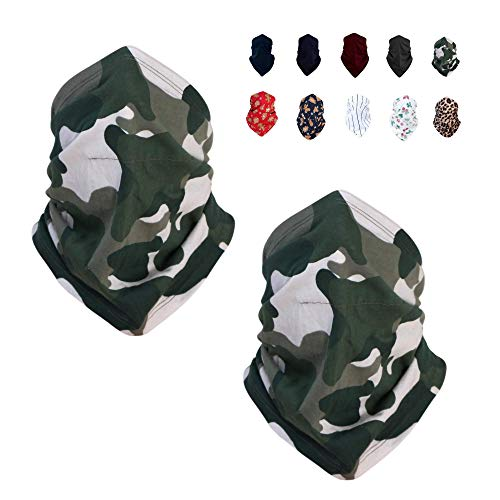100% Cotton Dust Neck Gaiter Face Cover Washable | Face Scarf Gaiter Wind | Bandana Cover (Camouflage)