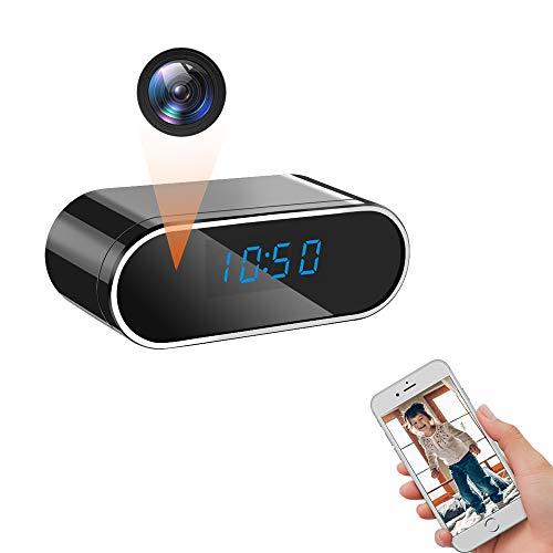LXMIMI Telecamera Nascosta, WiFi Telecamera Spia, 1080P HD Rilevamento del Movimento Videocamera Nascosta, 140° Grandangolare Visione Notturna Videocamera Spia con Visualizzazione Dell\'orologio