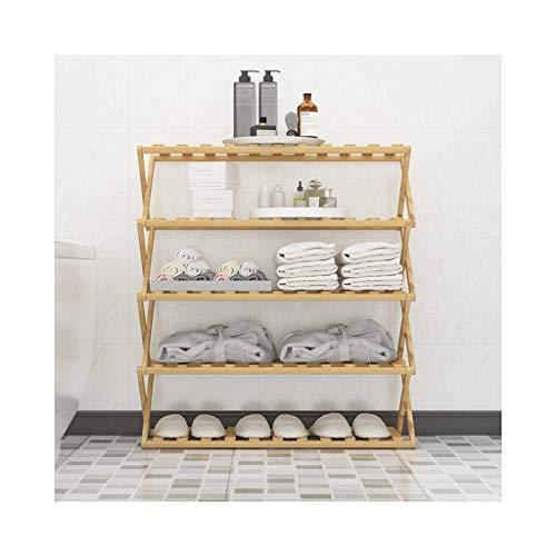 Estante de zapatos, Gabinete de zapatos a prueba de polvo 5 Terrazas de zapatos, unidad de estantería de madera, estante de la torre de pie, estante de Stoage para armario, baño, plegable, color roble