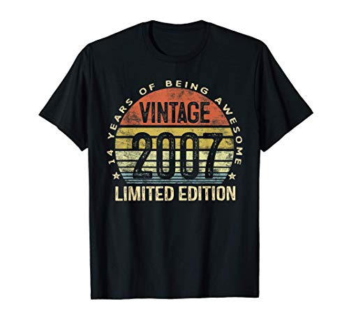 14 Year Old Gifts Vintage 2007 Limited Edition 14th Birthday T-Shirt