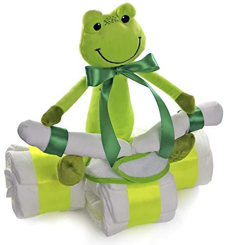 dubistda© Windeltorte Windeldreirad Frosch - Baby Geschenk zur Geburt / 42-teilig