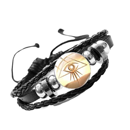 Pulseras de cuero con diseño de Dioses egipcios vintage, ojo de Horus, símbolo de cristal, múltiples capas, para mujeres, hombres, joyas