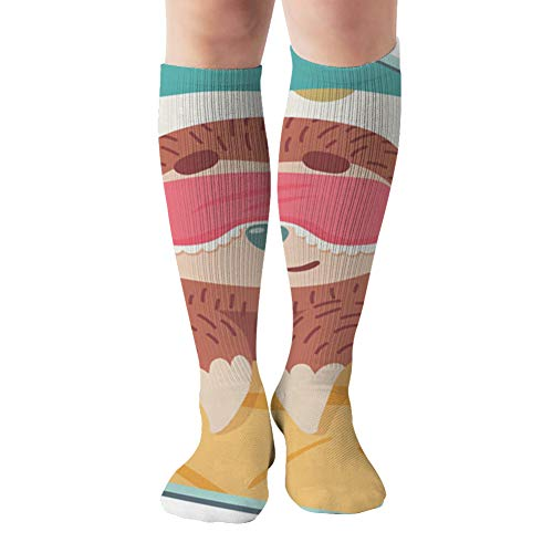 Cute Cartoon Sloth Sleeping Mask Bed Compression Socks Women & Men - Best For Running,Medical,Athletic Sports,Flight Travel, Pregnancy,19.68 Inch