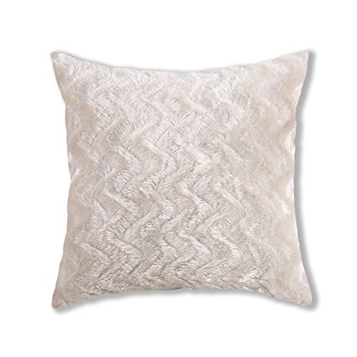 Fundas de almohada de felpa de estilo simple, cuadradas, súper suaves, fundas de cojín, fundas de almohada creativas para el hogar, decoración para sofá, cama, silla (beige, 43 x 43 cm)