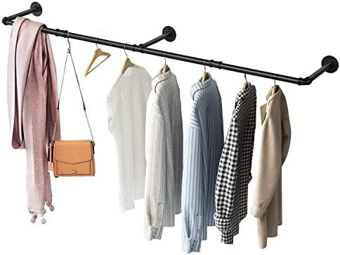 Greenstell Clothes Rack Industrial Pipe Wall Mounted Garment Rack Space Saving Heavy Duty Hanging product image