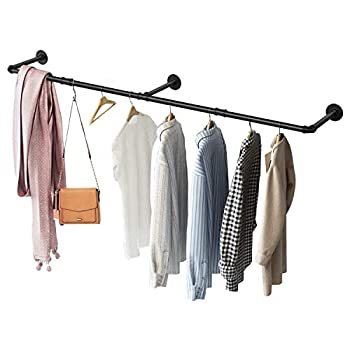 GREENSTELL Clothes Rack Industrial Pipe Wall Mounted Garment Rack 67 in Space-Saving Heavy Duty Hanging Clothes Rack Detachable Garment Bar Multi-Purpose Hanging Rod for Closet Storage 3 Base