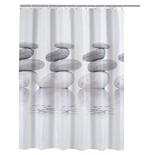 ENCOFT Duschvorhang Anti-Schimmel Wasserdicht Polyester mit 12 Duschvorhangringe Waschbar 180x180 Grau Pebble