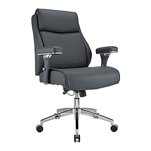 Realspace Modern Comfort Keera Bonded Leather Mid-Back Manager's Chair, Gray/Chrome