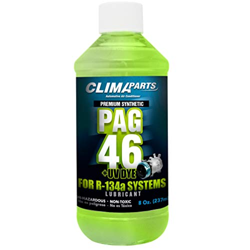 CLIMAPARTS Premium Synthetic AC Refrigerant Oil PAG 46UV Vis 8oz. for R134a Systems