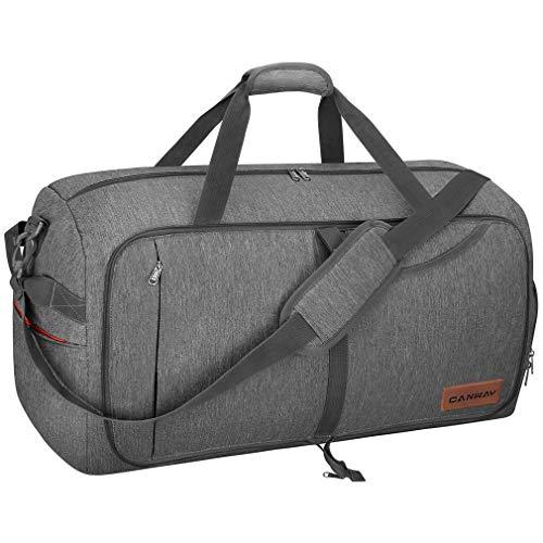 CANWAYボストンバッグ 折りたたみスポーツバッグ スーツケース固定 大容量 靴収納旅行バッグ 軽量 (グレー, 85L)