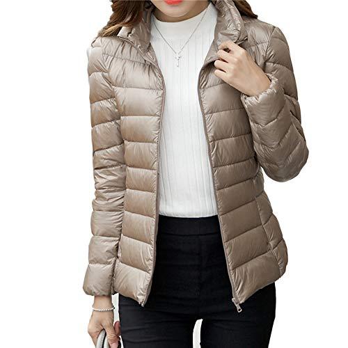 YAOTT Donna Giacche di Piumino Ultraleggeri Slim Trapuntato Giubbotto Inverno Caldo Cappotto Corto Cachi L