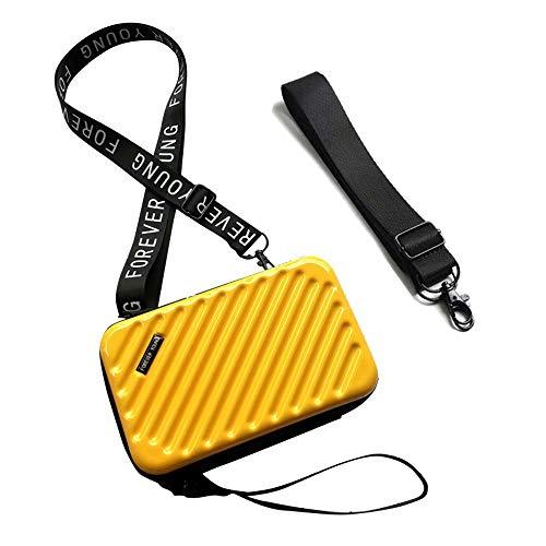 Flywill Handy Umhängetasche Hart ABS + PC Mode Damen Schultertasche Kupplung 3D Streifenmuster Handtasche mit Abnehmbar Schultergurt Handschlaufe Klein Tasche für Handy unter 6.5 Zoll, Gelb