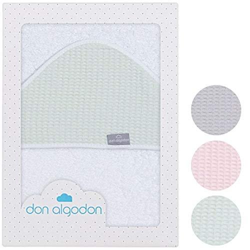 Baby-Handtuch mit Kapuze (mint) 100x100 cm mint-grün für Junge & Mädchen aus weichem ÖKOTEX Frottee in weiß - stylische WAFFELPIQUE Baumwolle Kapuze im Geschenk Set zur Geburt für Neugeborene